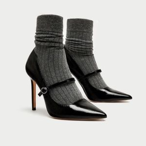 Zara Pointed Toe Patent Leather Heel with Sock